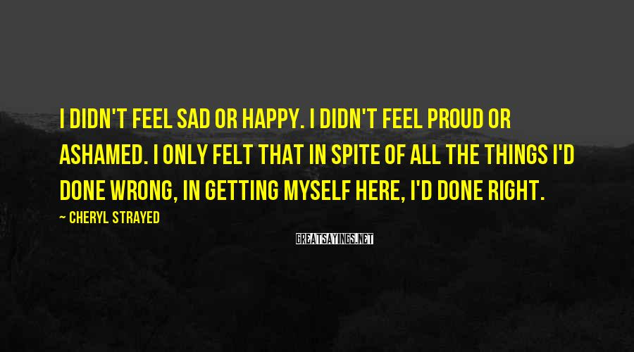 Cheryl Strayed Sayings: I Didn't Feel Sad Or Happy. I Didn't Feel Proud Or Ashamed. I Only Felt That In Spite Of All The Things I'd Done Wrong, In Getting Myself Here, I'd Done Right.