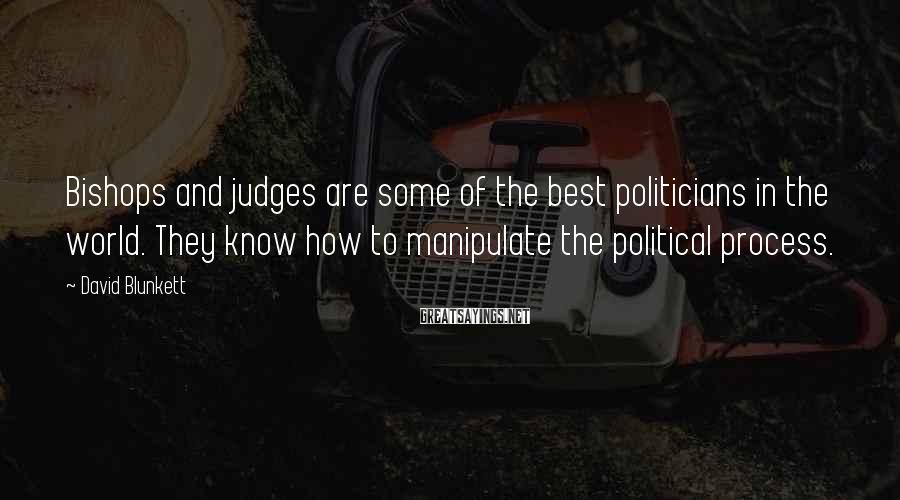 David Blunkett Sayings: Bishops And Judges Are Some Of The Best Politicians In The World. They Know How To Manipulate The Political Process.