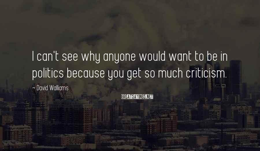 David Walliams Sayings: I Can't See Why Anyone Would Want To Be In Politics Because You Get So Much Criticism.