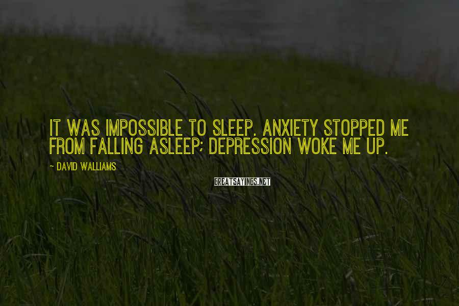 David Walliams Sayings: It Was Impossible To Sleep. Anxiety Stopped Me From Falling Asleep; Depression Woke Me Up.