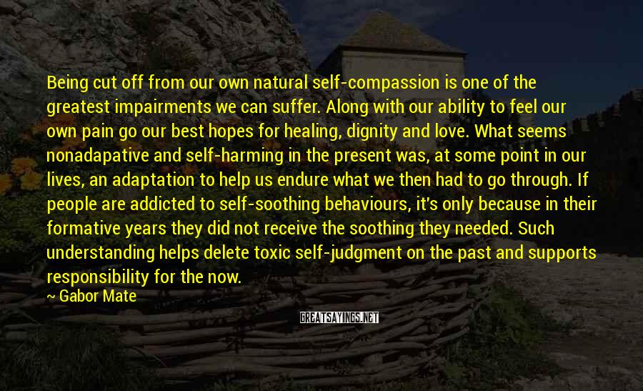 Gabor Mate Sayings: Being Cut Off From Our Own Natural Self-compassion Is One Of The Greatest Impairments We Can Suffer. Along With Our Ability To Feel Our Own Pain Go Our Best Hopes For Healing, Dignity And Love. What Seems Nonadapative And Self-harming In The Present Was, At Some Point In Our Lives, An Adaptation To Help Us Endure What We Then Had To Go Through. If People Are Addicted To Self-soothing Behaviours, It's Only Because In Their Formative Years They Did Not Receive The Soothing They Needed. Such Understanding Helps Delete Toxic Self-judgment On The Past And Supports Responsibility For The Now. Hence The Need For Compassionate Self-inquiry.