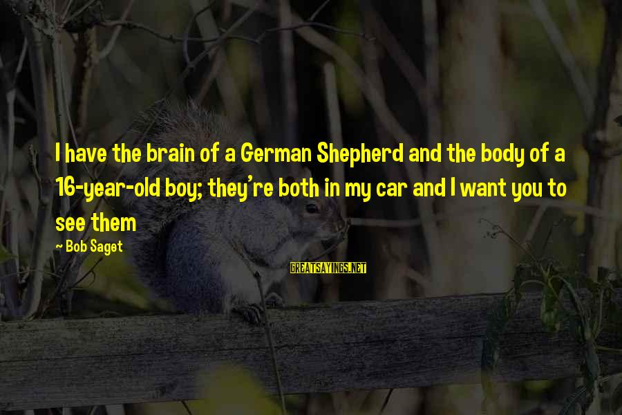 16 Year Old Boy Sayings By Bob Saget: I have the brain of a German Shepherd and the body of a 16-year-old boy;
