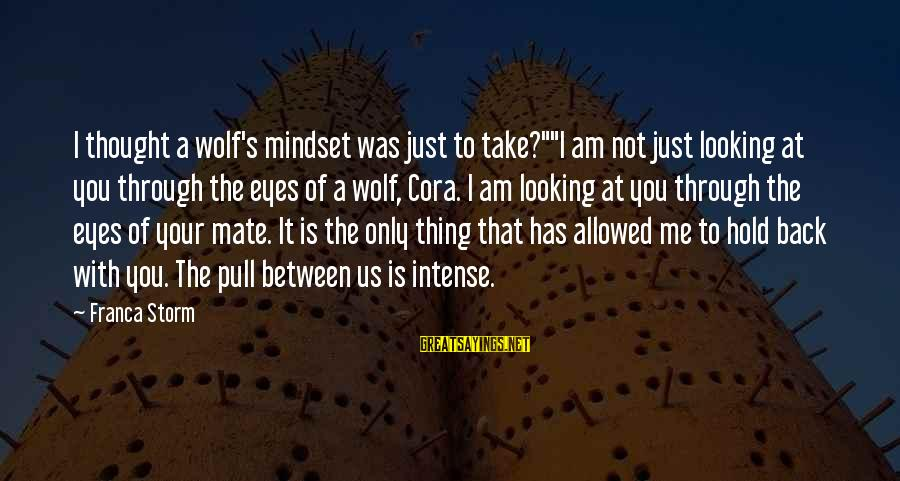 """3 Days Before Christmas Sayings By Franca Storm: I thought a wolf's mindset was just to take?""""""""I am not just looking at you"""
