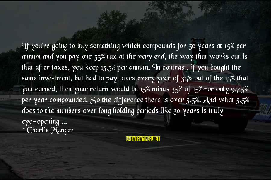 3 Years Sayings By Charlie Munger: If you're going to buy something which compounds for 30 years at 15% per annum
