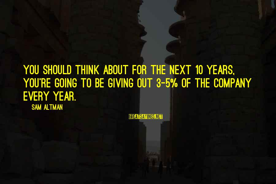 3 Years Sayings By Sam Altman: You should think about for the next 10 years, you're going to be giving out