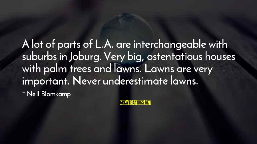 30 Monthsary Sayings By Neill Blomkamp: A lot of parts of L.A. are interchangeable with suburbs in Joburg. Very big, ostentatious