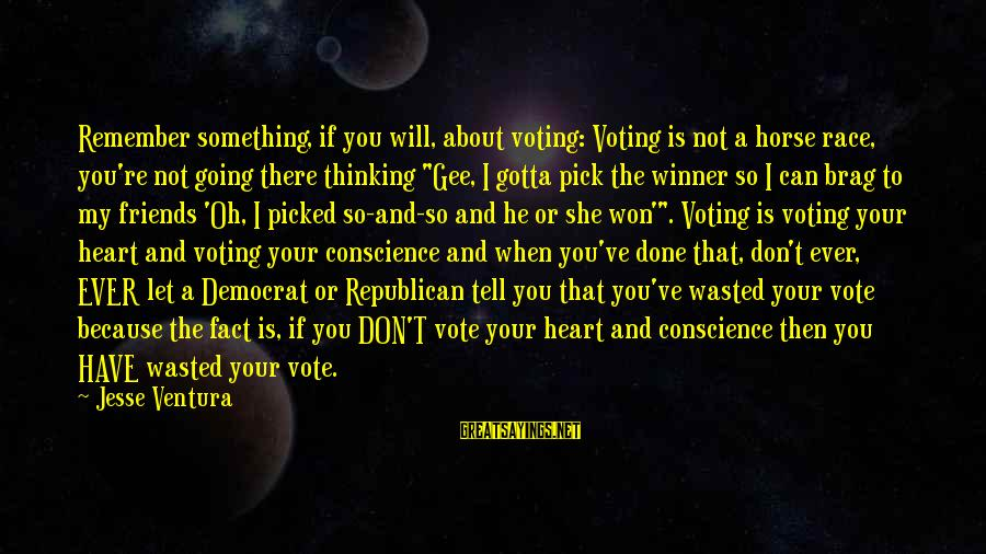 5 Best Friends Sayings By Jesse Ventura: Remember something, if you will, about voting: Voting is not a horse race, you're not