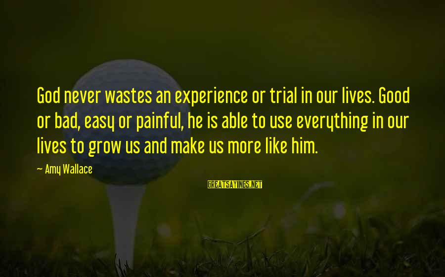 A Bad Experience Sayings By Amy Wallace: God never wastes an experience or trial in our lives. Good or bad, easy or
