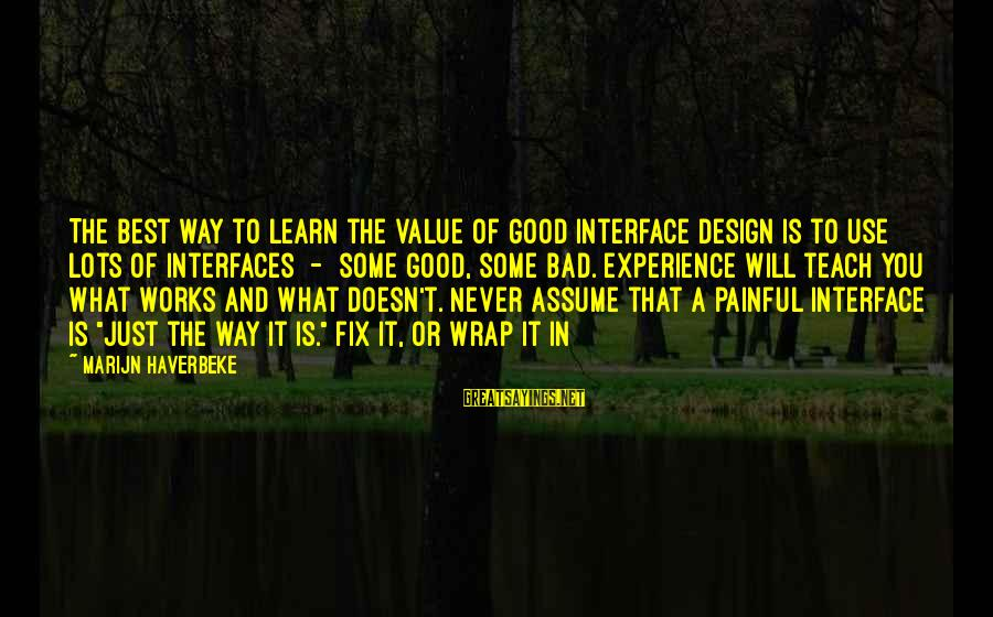 A Bad Experience Sayings By Marijn Haverbeke: The best way to learn the value of good interface design is to use lots