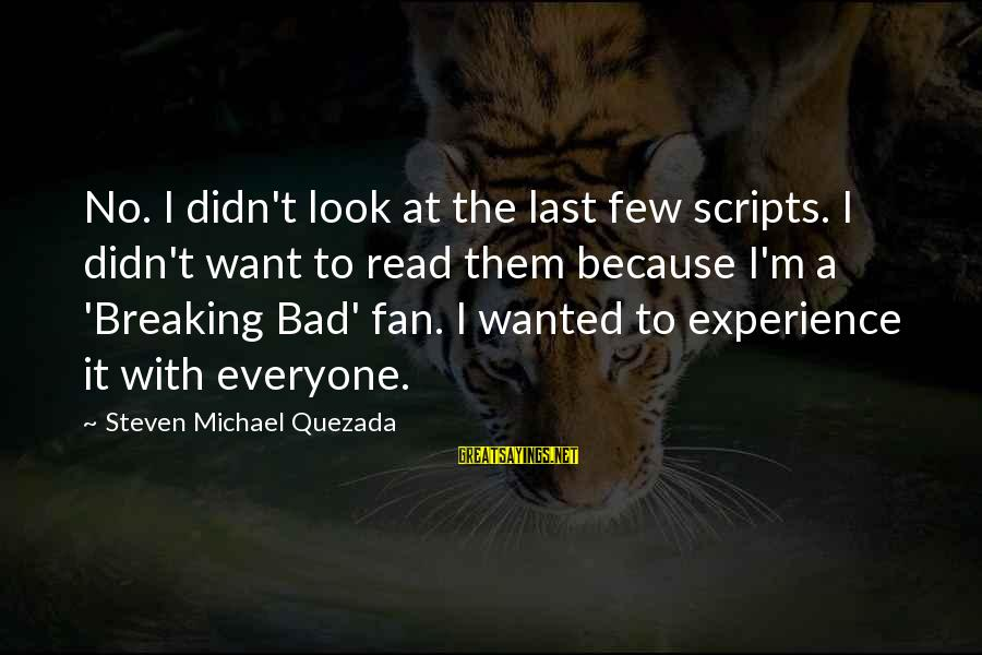 A Bad Experience Sayings By Steven Michael Quezada: No. I didn't look at the last few scripts. I didn't want to read them