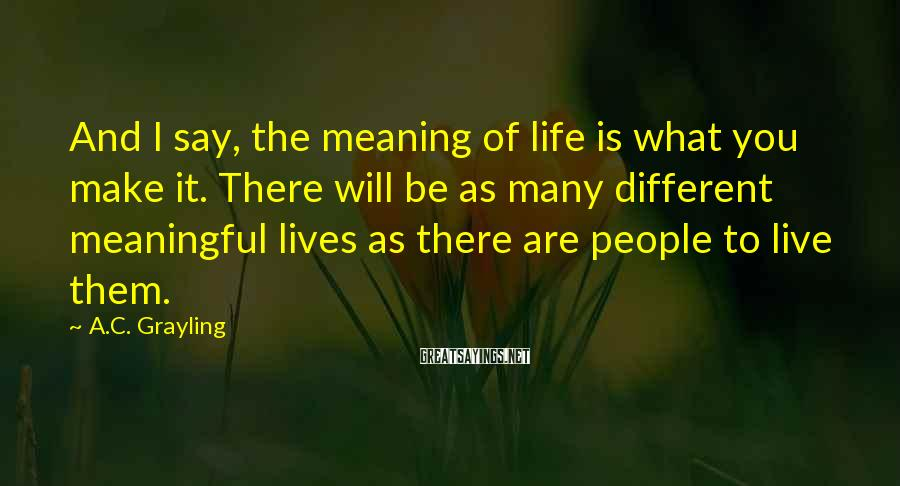 A.C. Grayling Sayings: And I say, the meaning of life is what you make it. There will be
