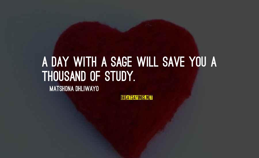 A Day With You Sayings By Matshona Dhliwayo: A day with a sage will save you a thousand of study.