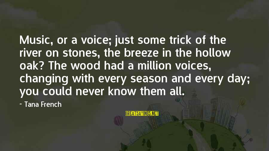A Day With You Sayings By Tana French: Music, or a voice; just some trick of the river on stones, the breeze in