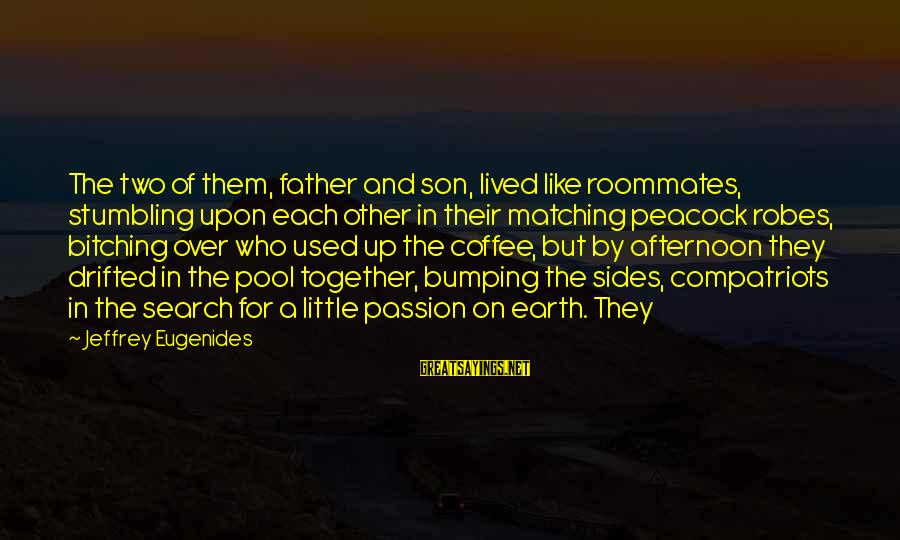 A Father And Son Sayings By Jeffrey Eugenides: The two of them, father and son, lived like roommates, stumbling upon each other in
