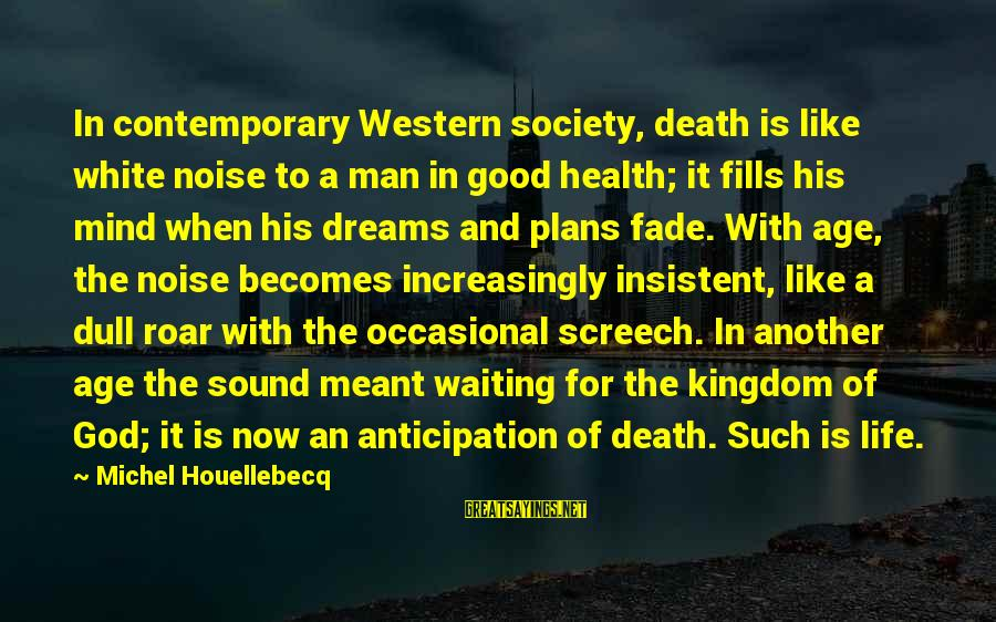 A Good Life And Death Sayings By Michel Houellebecq: In contemporary Western society, death is like white noise to a man in good health;