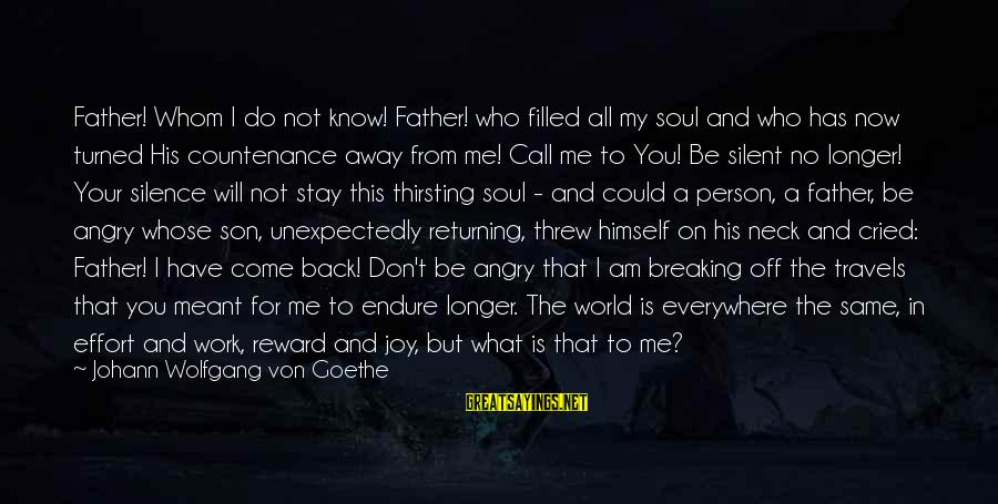 A Happy Soul Sayings By Johann Wolfgang Von Goethe: Father! Whom I do not know! Father! who filled all my soul and who has