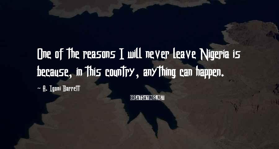 A. Igoni Barrett Sayings: One of the reasons I will never leave Nigeria is because, in this country, anything