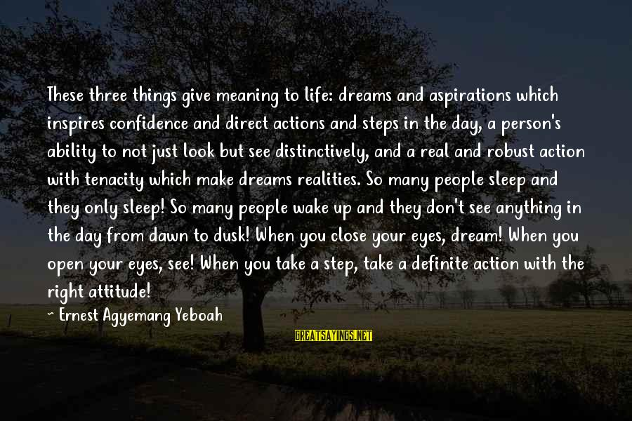 A Motivational Person Sayings By Ernest Agyemang Yeboah: These three things give meaning to life: dreams and aspirations which inspires confidence and direct
