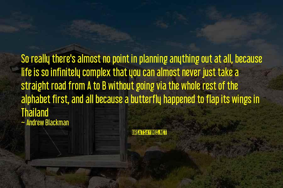 A Point In Life Sayings By Andrew Blackman: So really there's almost no point in planning anything out at all, because life is