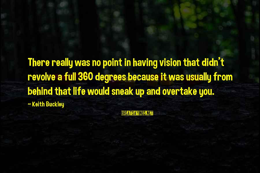 A Point In Life Sayings By Keith Buckley: There really was no point in having vision that didn't revolve a full 360 degrees
