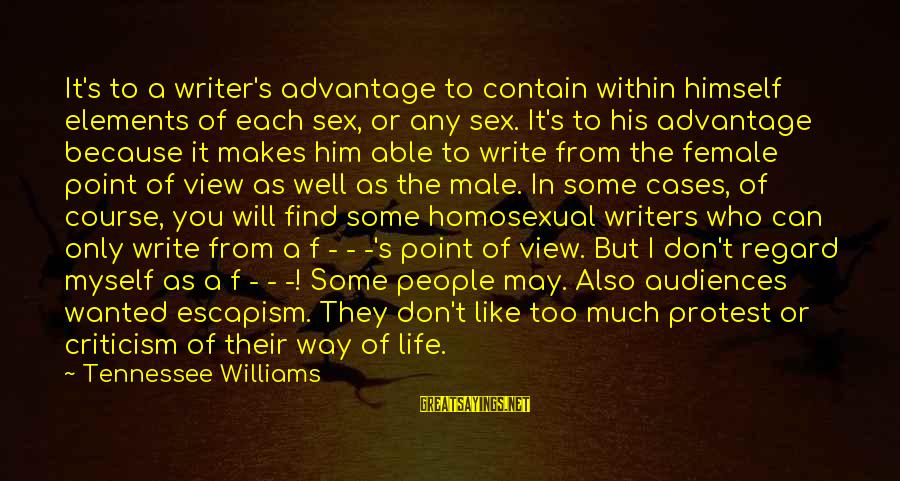 A Point In Life Sayings By Tennessee Williams: It's to a writer's advantage to contain within himself elements of each sex, or any