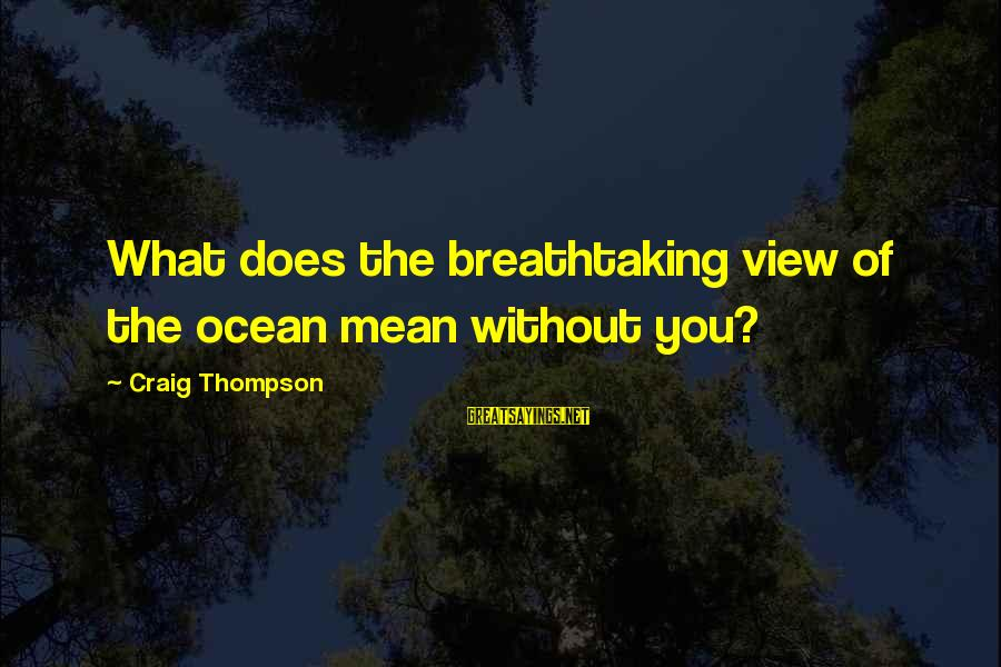 A View Of The Ocean Sayings By Craig Thompson: What does the breathtaking view of the ocean mean without you?