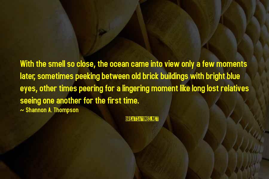 A View Of The Ocean Sayings By Shannon A. Thompson: With the smell so close, the ocean came into view only a few moments later,
