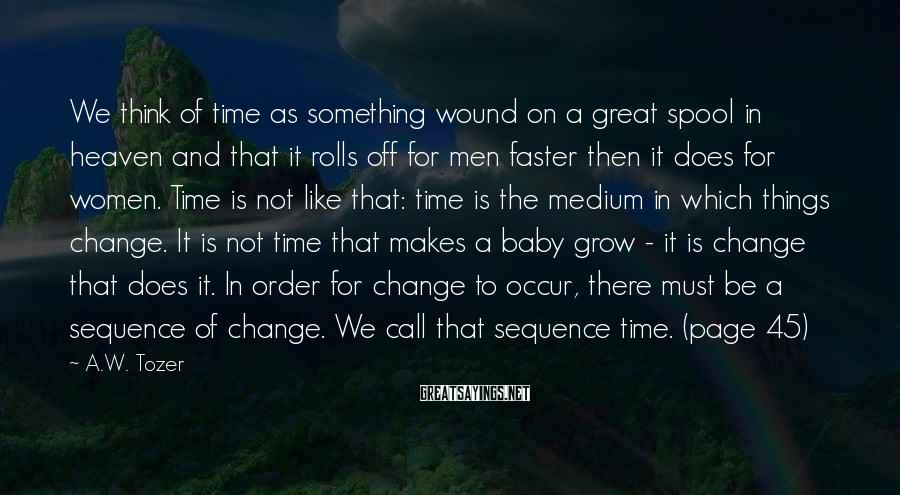 A.W. Tozer Sayings: We think of time as something wound on a great spool in heaven and that