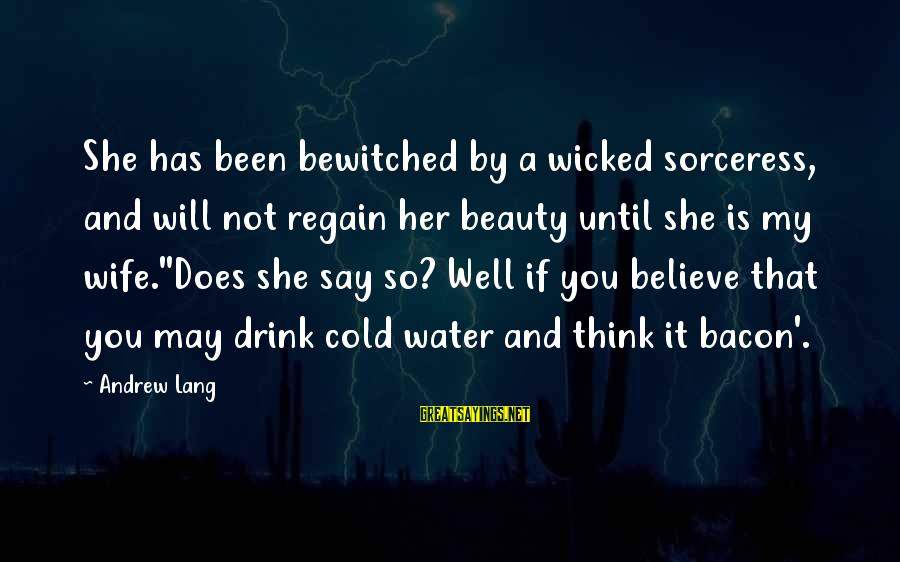 A Wife's Beauty Sayings By Andrew Lang: She has been bewitched by a wicked sorceress, and will not regain her beauty until