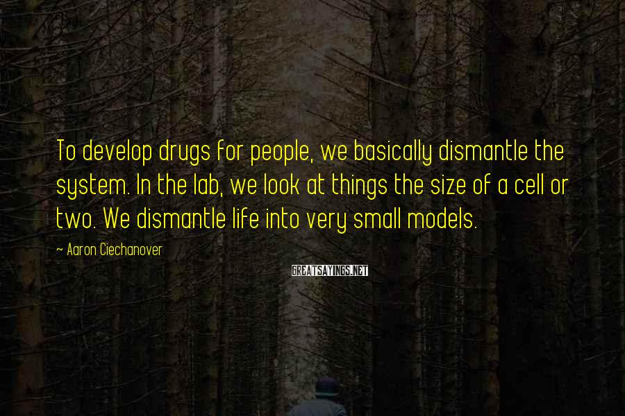 Aaron Ciechanover Sayings: To develop drugs for people, we basically dismantle the system. In the lab, we look