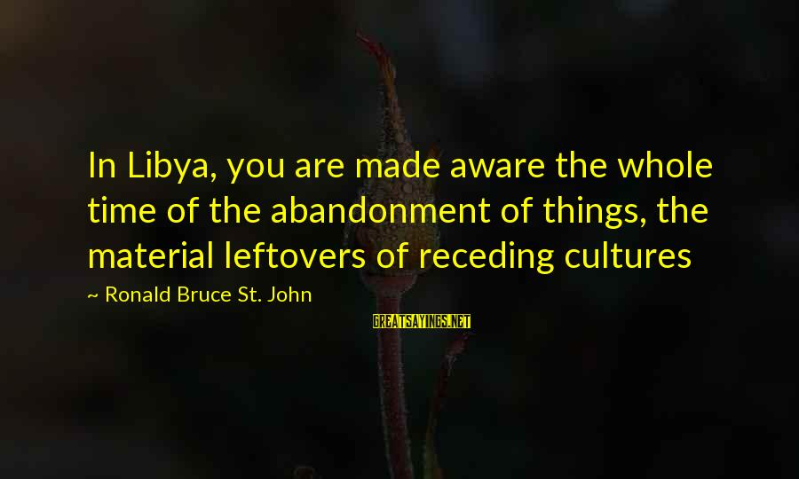 Abandonment Sayings By Ronald Bruce St. John: In Libya, you are made aware the whole time of the abandonment of things, the