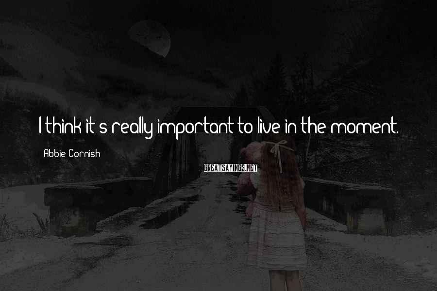 Abbie Cornish Sayings: I think it's really important to live in the moment.