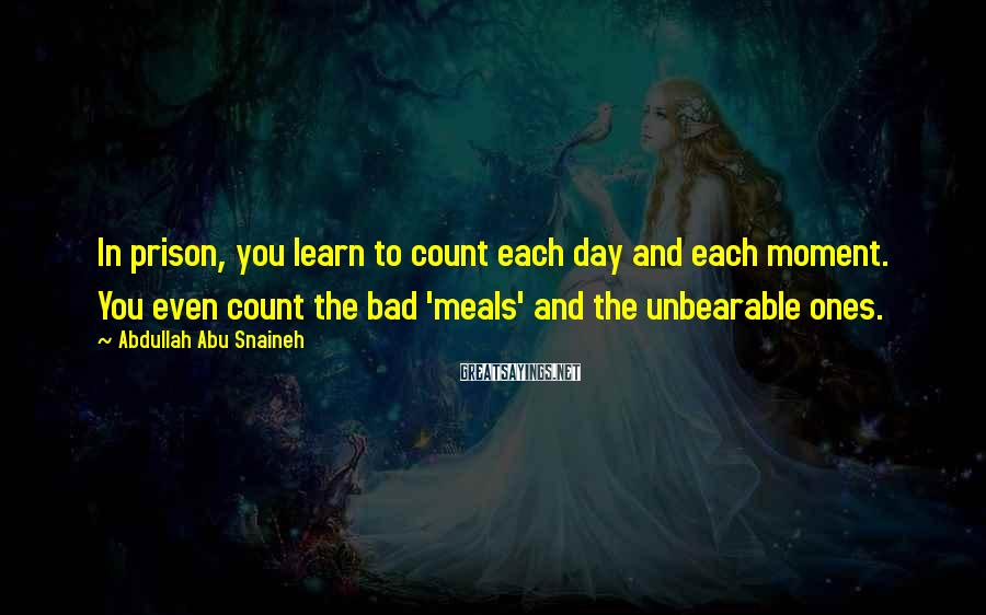 Abdullah Abu Snaineh Sayings: In prison, you learn to count each day and each moment. You even count the