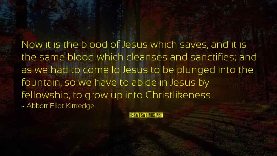 Abide In Jesus Sayings By Abbott Eliot Kittredge: Now it is the blood of Jesus which saves, and it is the same blood