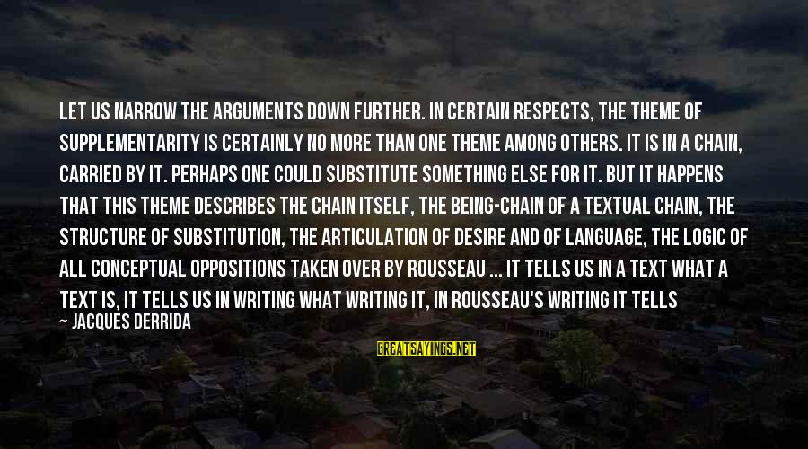 Abyme Sayings By Jacques Derrida: Let us narrow the arguments down further. In certain respects, the theme of supplementarity is