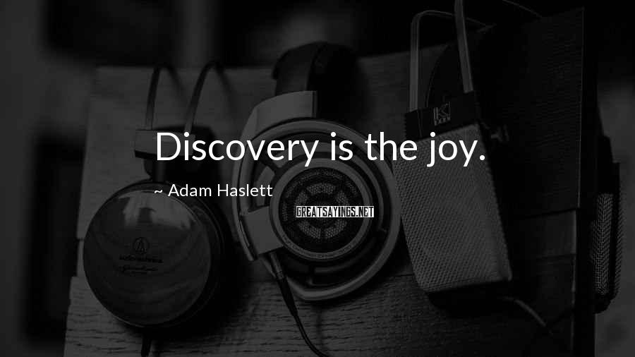 Adam Haslett Sayings: Discovery is the joy.