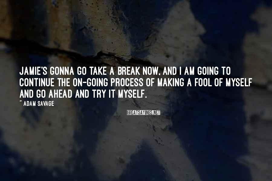 Adam Savage Sayings: Jamie's gonna go take a break now, and i am going to continue the on-going