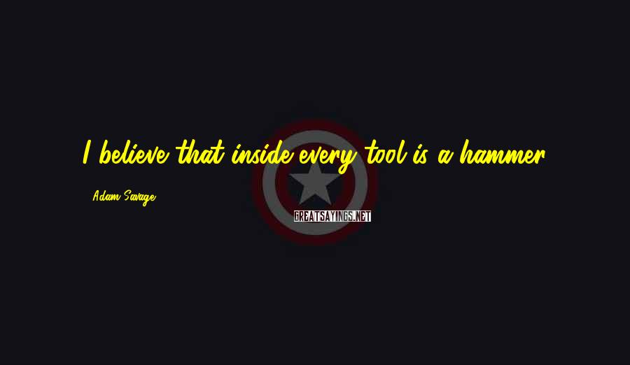 Adam Savage Sayings: I believe that inside every tool is a hammer.