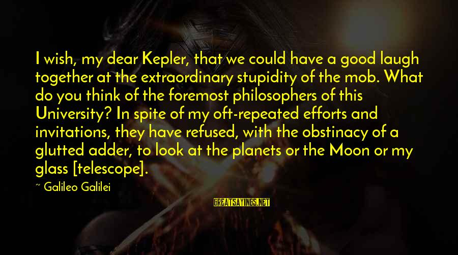 Adder's Sayings By Galileo Galilei: I wish, my dear Kepler, that we could have a good laugh together at the