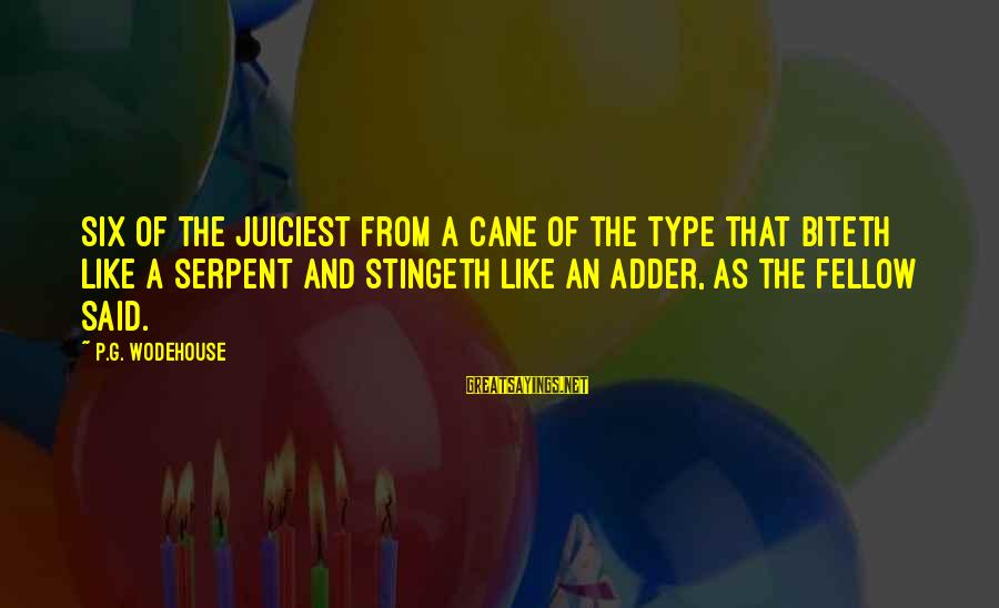Adder's Sayings By P.G. Wodehouse: Six of the juiciest from a cane of the type that biteth like a serpent