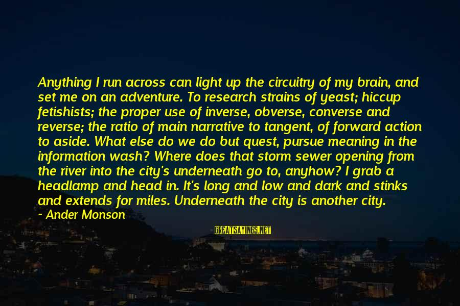 Adventure And Reading Sayings By Ander Monson: Anything I run across can light up the circuitry of my brain, and set me