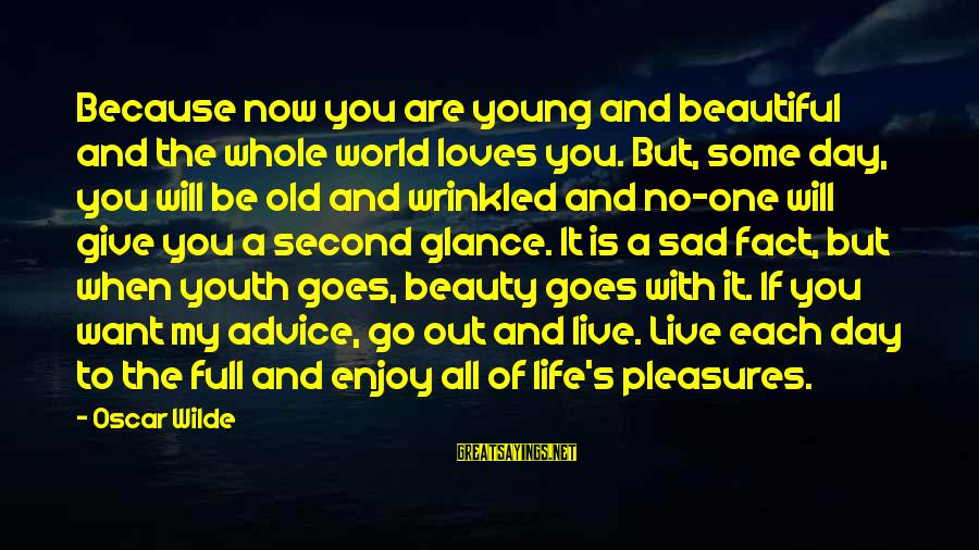 Advice To Youth Sayings By Oscar Wilde: Because now you are young and beautiful and the whole world loves you. But, some