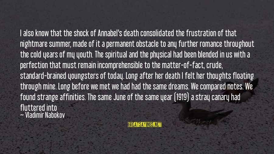 Affinities Sayings By Vladimir Nabokov: I also know that the shock of Annabel's death consolidated the frustration of that nightmare