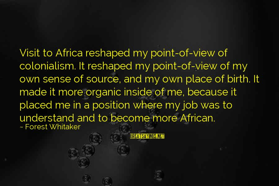 African Colonialism Sayings By Forest Whitaker: Visit to Africa reshaped my point-of-view of colonialism. It reshaped my point-of-view of my own