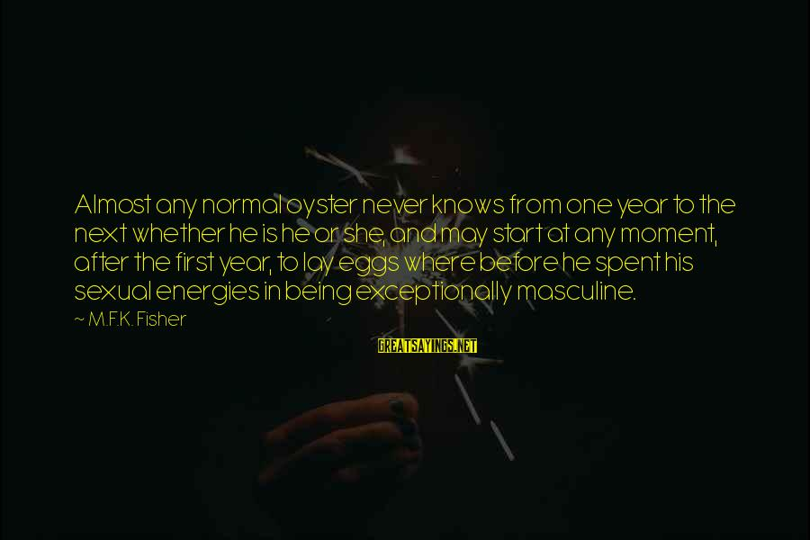 After Or Before Sayings By M.F.K. Fisher: Almost any normal oyster never knows from one year to the next whether he is