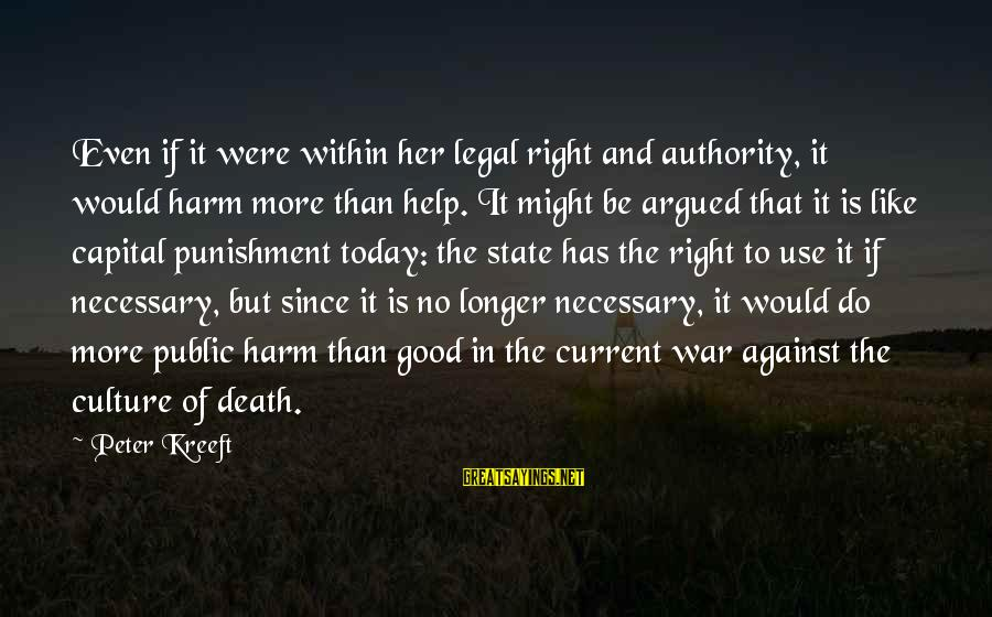 Against War Sayings By Peter Kreeft: Even if it were within her legal right and authority, it would harm more than