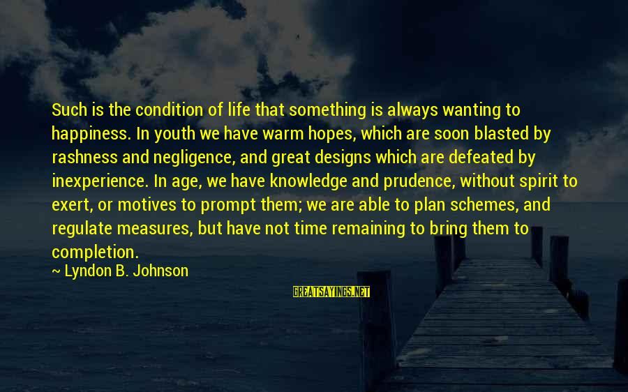 Age And Happiness Sayings By Lyndon B. Johnson: Such is the condition of life that something is always wanting to happiness. In youth