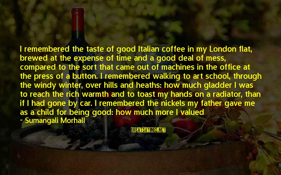 Age And Happiness Sayings By Sumangali Morhall: I remembered the taste of good Italian coffee in my London flat, brewed at the