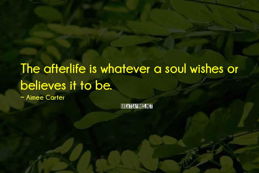 Aimee Carter Sayings: The afterlife is whatever a soul wishes or believes it to be.
