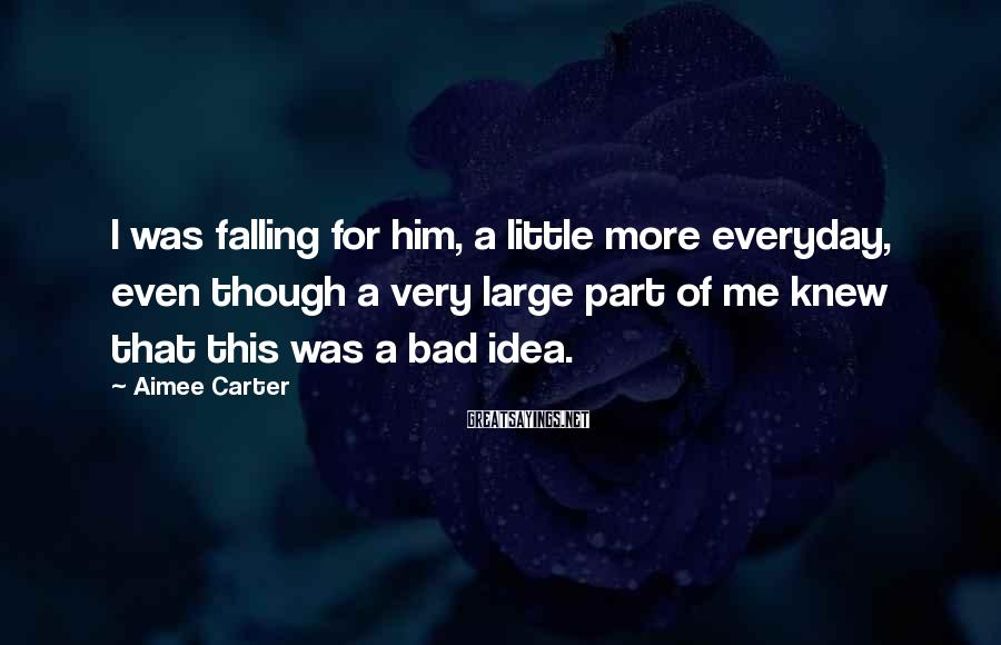 Aimee Carter Sayings: I was falling for him, a little more everyday, even though a very large part